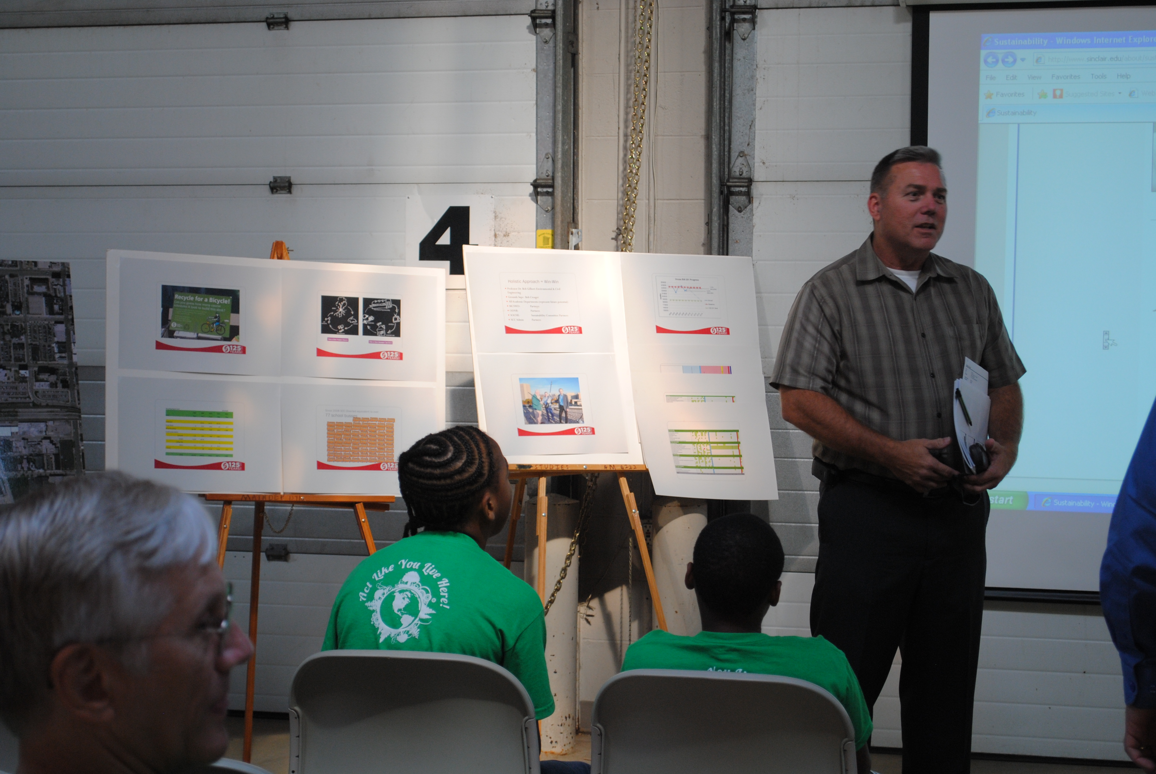 Woody Woodruff, director of Facilities Management at Sinclair speaking to a group of youths at Sinclair earlier this September.