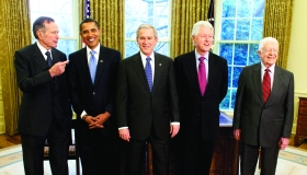President George W. Bsh meets with former President George H.W. Bush (left), President-elect Barack Obama (second-left), former President Bill Clinton (second from right) and former President Jimmy Carter on Jan. 7 in the Oval Office of the White House. --photo by Chuck Kennedy, MCT