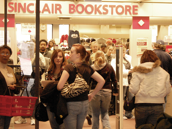 Students wait in line at the Sinclair Bookstore on Jan. 7 -- photo by Joe Stueve