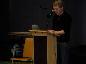 "Sinclair student, Christian Schlorman reads ""Grandfather"" by Michael S. Harper"