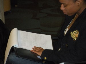 Sinclair student, Felicia Banks, studying for her final exam in Art 101.