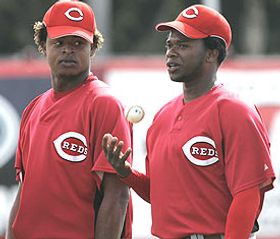 Edinson Volquez (left) and Johnny Cueto must avoid sophomore slumps if the Reds look to improve in '09.